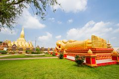 Buddha statue at Wat Pha That Luang Stock Image