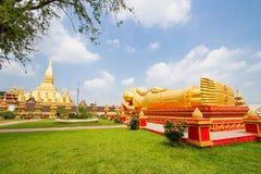 Buddha statue at Wat Pha That Luang Stock Image