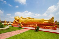 Buddha statue at Wat Pha That Luang Royalty Free Stock Photography