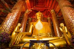 Buddha statue in wat Phananchoeng Royalty Free Stock Photography