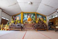 Buddha statue in Wat Phra That Doi Kong Mu. White temple on a mountain top at Mae Hong. Maehongson, Thailand. - February 22, 2017 : Buddha statue in Wat Phra Stock Photo