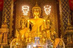 Buddha statue in Wat Phra That Hariphunchai, Lamphun province Stock Images