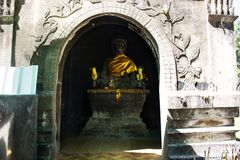 Buddha statue in Wat Phra That Kong Khao Noi in Yasothon, Thailand. For thai people and foriegner travelers visited and respect praying royalty free stock photo