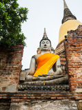 Buddha statue in Wat Yai Chai Mongkol Royalty Free Stock Photography