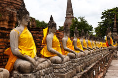 Buddha statue in Wat Yai Chai Mongkol. public temple in Ayuttaya Royalty Free Stock Image