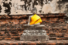 Buddha statue in Wat Yai Chai Mongkol. public temple in Ayuttaya Royalty Free Stock Photos