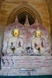 Buddha-Statuen innerhalb des Dhammayangyi-Tempels Bagan myanmar Lizenzfreie Stockfotografie