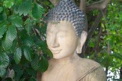 Buddha-Statuen-Porträtabschluß oben in den kambodschanischer Tempel-Grünpflanzen Stockbild