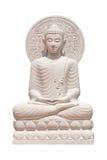 Buddha-Statuenabschluß oben lokalisiert gegen Weiß Lizenzfreies Stockfoto