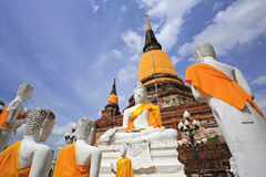 Buddha statues against ancient pagoda in Ayutthaya Royalty Free Stock Photos