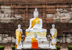 Buddha statues against ancient pagoda at Wat Yai Chaimongkol. Buddha statues ancient at Wat Yai Chaimongkol stock photos