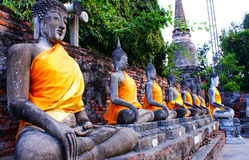 Buddha statues. Amazing view of mythology and religious statues at wat yai chai mongkon.thailand ayuttaya stock images