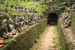 Buddha statues in ancient ruins temple in Mrauk-U Stock Photos