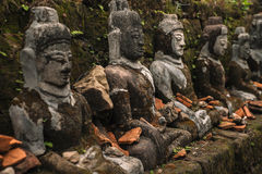 Buddha statues in ancient ruins temple in Mrauk-U stock photo