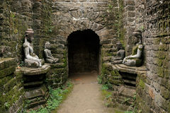 Buddha statues in ancient ruins temple in Mrauk-U royalty free stock image