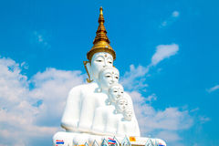 Buddha statues and colored foot path colorful glass stacked in Wat Pha Kaew, Khao Kho, Phetchabun Royalty Free Stock Image