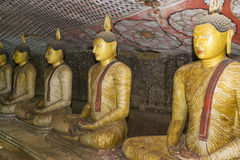 Buddha Statues at Dambulla Rock Temple, Sri Lanka. Image of Buddha statues in a cave at the ancient Rock Temple, Dambulla, Sri Lanka. This is a UNESCO World Stock Photography