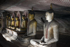 Buddha Statues at Dambulla Rock Temple, Sri Lanka Royalty Free Stock Photos