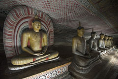 Buddha Statues at Dambulla Rock Temple, Sri Lanka Stock Photo