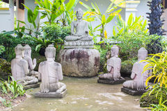 Buddha statues with five Brahmin statues Royalty Free Stock Photography