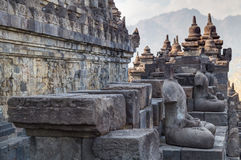 Buddha statues at the galleries of Borobudur  temple Royalty Free Stock Photos