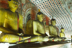 Buddha statues. In the Golden Cave Temple of Dambulla in Sri Lanka Royalty Free Stock Photos