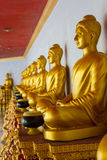 Buddha statues. Golden Buddha statues sit in a row. Thailand Stock Photo