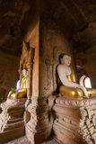 Buddha statues inside a temple in Bagan Royalty Free Stock Photos