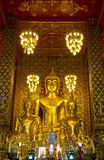 Buddha statues inside Wat Phrathat Hariphunchai, Thailand Stock Image
