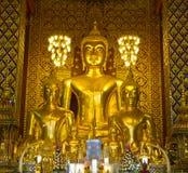 Buddha statues inside Wat Phrathat Hariphunchai, Thailand Royalty Free Stock Image