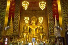 Buddha statues inside Wat Phrathat Hariphunchai, Thailand Royalty Free Stock Photography