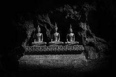 Buddha statues : The Khao Luang cave. At Phetchaburi, Thailand. Black and White color Effect stock image