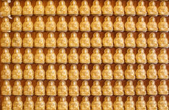 Buddha statues in lines at Chinese church in Thailand. Image Stock Image