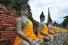 Buddha statues in old temple Royalty Free Stock Image