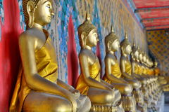 Buddha statues at the ordination hall. Wat Arun. Bangkok. Thailand Royalty Free Stock Photos