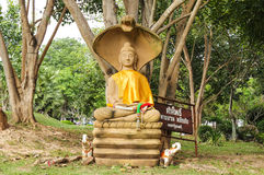 Buddha statues. In the park, outdoors under the shade trees at Wat Phra That Na Dun.,  Province Mahasarakham , Thailand Royalty Free Stock Image
