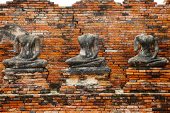 Buddha statues ruin in Ayutthaya historical park Stock Photography