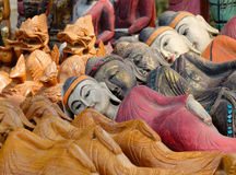 Buddha statues for sale on street in Mandalay, Myanmar Royalty Free Stock Photos