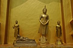 Buddha statues in Sangkhlaburi golden temple hall Stock Images