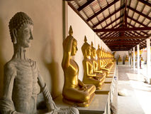 Buddha statues. In several Buddhist temples it has a Buddha statue in row for appeal Buddhist come and worship them Royalty Free Stock Photography