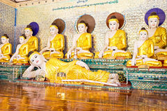 Buddha statues in the Shwedagon pagode in Yangon Myanmar Royalty Free Stock Images