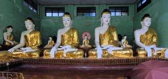 Buddha Statues at Shwedagon, Yangon, Burma Stock Photography