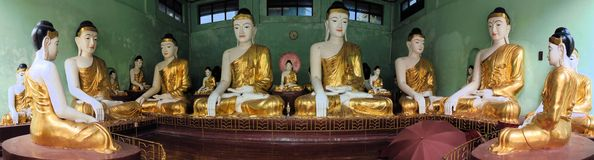Buddha Statues at Shwedagon, Yangon, Burma Stock Photo