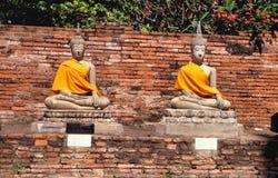 Buddha statues. Temple of Ayutthaya. Buddha statues.Temple of Wat Yai Chai Mongkol in Ayutthaya royalty free stock images