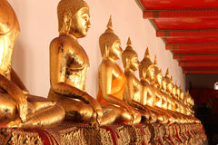Buddha statues in the temple. The statues of Buddha in the temple in Bangkok, Thailand Royalty Free Stock Photography
