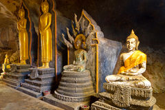 Buddha statues in the temple of Thailand Royalty Free Stock Photo