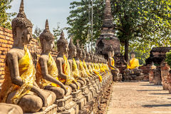 Buddha statues at the temple in Thailand. Row of Buddha statues at the temple of Wat Yai Chai Mongkol in Ayutthaya, Thailand Stock Images