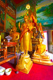 Buddha statues at the temple in Thailand. Statue temple thai religion asian, culture buddha buddhism chiang mai color  image, eyes closed glass glass statue  god Royalty Free Stock Photos