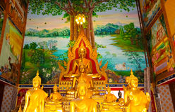Buddha statues at the temple in Thailand. Statue temple thai religion asian, culture buddha buddhism chiang mai color  image, eyes closed glass glass statue  god Royalty Free Stock Photo