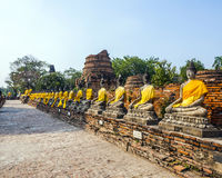 Buddha statues in the temple Wat Stock Photo